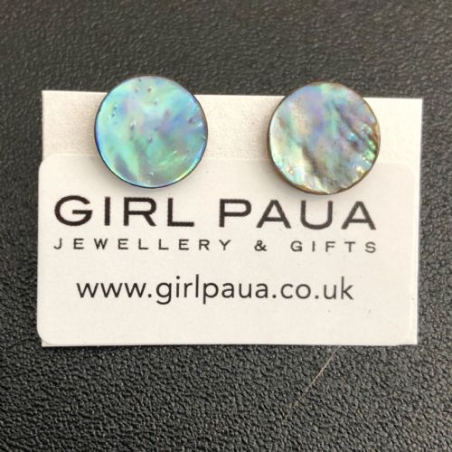 Paua Stud Earrings PE04 12mm NATURAL DISC